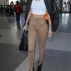 Rachel Zoe Faux Suede High Rise Tan Leggings Sz 6